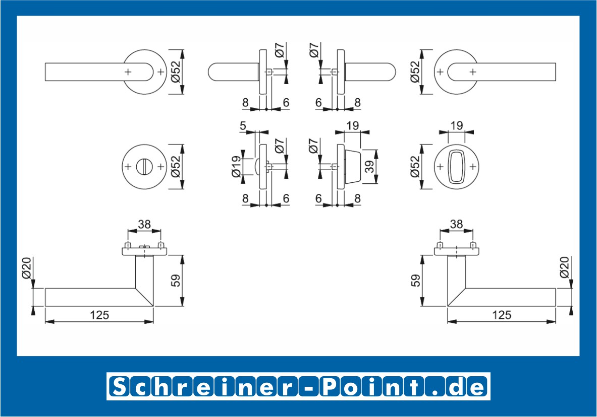 6439996 HOPPE Rosetten-Garnitur Amsterdam Edelstahl matt E1400Z//42KV//42KVS