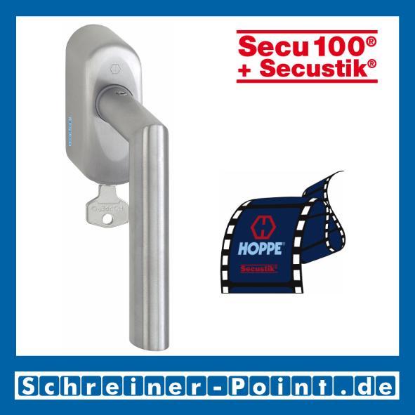 Secu100 + Secustik abschliessbar Vierkant 7//40 mm HOPPE Fenstergriff Amsterdam in Edelstahl matt