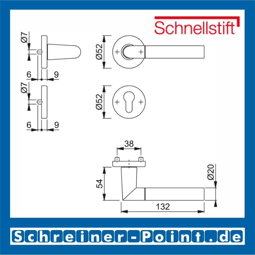 Hoppe Lecce F49//F9-2 verchromt//Alu Stahl matt 1405//42KV//42KVS PZ Profilzylinder