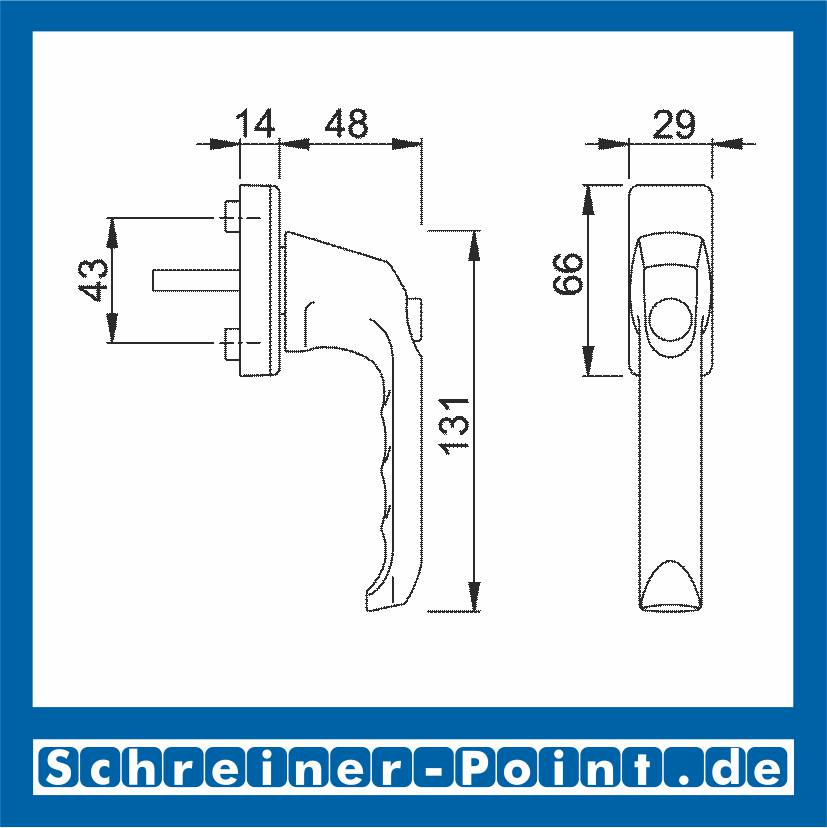 Hoppe London Aluminium Fenstergriff Druckknopf F4 Bronze  013SV//U34 7//35 mm