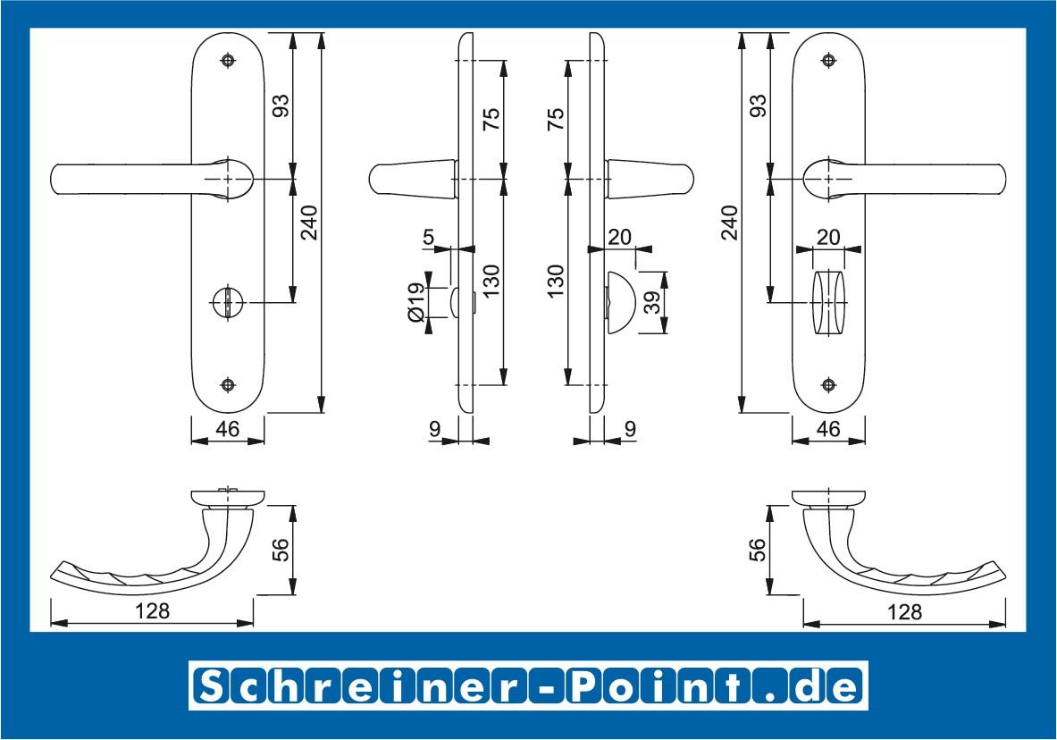HOPPE Langschild-Garnitur T/ôky/ô Aluminium Natur 1710//273P 8186314
